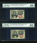 Fractional Currency:Fifth Issue, Pair of Fr. 1265 10c Fifth Issue PMG Choice Uncirculated 64 EPQ....(Total: 2 notes)