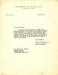 Autographs:Inventors, Robert Oppenheimer Typed Letter Signed....