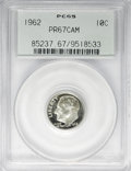 Proof Roosevelt Dimes: , 1962 10C PR67 Cameo PCGS. PCGS Population (189/250). NGC Census:(160/350). Numismedia Wsl. Price for NGC/PCGS coin in PR6...