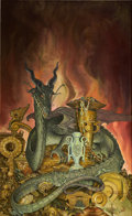 Paintings, STEPHEN HICKMAN (American b.1949). Dragon Hoard, paperback cover, 1985. Oil on board. 32 x 19.5 in.. Signed lower right...