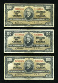 Canadian Currency: , BC-27b $100 1937 Three Examples. ... (Total: 3 notes)
