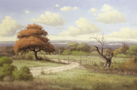 C.P. MONTAGUE (American, 20th Century) Texas Landscape with Barbed Wire Fence Oil on canvas 24 x