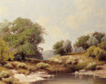 Texas:Early Texas Art - Regionalists, A.D. GREER (American, 1904-1998). Hill Country WateringHole. Oil on canvas. 24 x 30 inches (61.0 x 76.2 cm). Signedlow...