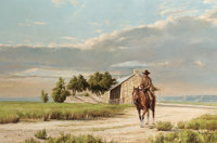 DAVID SANDERS (American, b. 1936) Lone Rider and Stone House, 1969 Oil on canvas 24 x 36 inches (