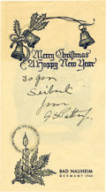 Autographs:Military Figures, [World War II] Generals Patton and Montgomery Signed Holiday Cards.... (Total: 2 Items)