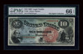 Large Size:Legal Tender Notes, Fr. 96 $10 1869 Legal Tender PMG Gem Uncirculated 66 EPQ....
