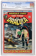 Bronze Age (1970-1979):Horror, Tomb of Dracula #1 (Marvel, 1972) CGC VF- 7.5 Off-white to whitepages....