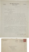 Autographs:Inventors, Orville Wright Typed Letter Signed.... (Total: 2 Items)