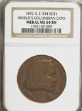 Expositions and Fairs, 1892 World's Columbian Exposition, Eglit-406, MS64 Brown NGC....
