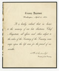 Military & Patriotic:Civil War, [Lincoln's Death] Mourning Order. Printed Circular Letter from the Treasury Department, signed in facsimile by Secretary Hug...