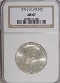 Kennedy Half Dollars: , 1976-S 50C Silver MS67 NGC. NGC Census: (142/10). PCGS Population(1438/201). Mintage: 11,000,000. Numismedia Wsl. Price fo...