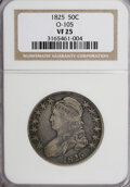 Bust Half Dollars: , 1825 50C VF25 NGC. O-105. NGC Census: (4/808). PCGS Population(9/794). Mintage: 2,900,000. Numismedia Wsl. Price for NGC/...