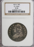Bust Half Dollars: , 1814 50C F15 NGC. O-104A. NGC Census: (3/38304). PCGS Population(2/357). Mintage: 1,039,075. Numismedia Wsl. Price for NG...