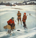 Mainstream Illustration, JOHN PHILIP FALTER (American 1910 - 1982). Winter Scene forGoodyear Tire, circa 1950. Oil on canvas. 34.5 x 32.5 in.. N...