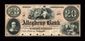 Obsoletes By State:Pennsylvania, Allegheny, PA- Allegheny Bank $20 G12a Proof. ...