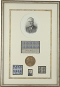Autographs:U.S. Presidents, Franklin D. Roosevelt: Framed Display Including Signed Five-CentStamp Sheet.. -1940-1982.. -Very fine....