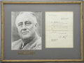"Autographs:U.S. Presidents, Franklin D. Roosevelt: Typed Letter Signed ""FDR"" asPresident.. -November 22, 1933. Warm Springs, Georgia. One p..."