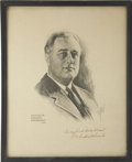 """Autographs:U.S. Presidents, Franklin D. Roosevelt: 1932 Campaign Poster Signed.. -Circa 1932.16"""" x 20"""".. -To: Gordon Stewart... -Ink faded to brown, el..."""