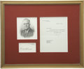 Autographs:U.S. Presidents, Franklin D. Roosevelt: Typed Letter Signed as President and SignedWhite House Card....