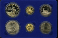 1986 Statue of Liberty Half, $1, $5 Set (6 coins) MS68 Uncertified. The box, case and Certificate of Authenticity includ...