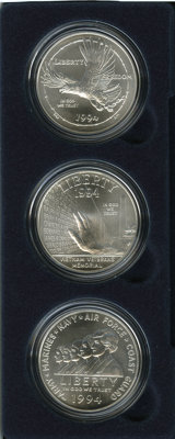 1994 U. S. Veterans Uncirculated Dollar Set (3 coins) MS68 Uncertified. The box, case and Certificate of Authenticity in...