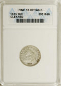Bust Dimes: , 1833 10C --Cleaned--ANACS. Fine 15 Details. NGC Census: (0/238).PCGS Population (0/223). Mintage: 485,000. Numismedia Wsl. ...
