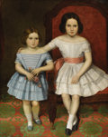 Fine Art - Painting, American:Antique  (Pre 1900), AMERICAN SCHOOL (Nineteenth Century). Early Folk Art. PortraitOf Two Sisters. Oil on canvas. 34 x 43 inches (86.4 x 109...
