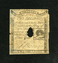 Massachusetts 1779 2s Very Good, HOC. Paul Revere engraved and printed the face of this rare Rising Sun note. In fact, t...