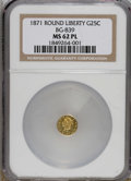 California Fractional Gold: , 1871 25C Liberty Head Round 25 Cents, BG-839, Low R.4, MS62Prooflike NGC. Fully prooflike surfaces with excellent cameo co...