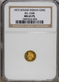 California Fractional Gold: , 1872 50C Indian Round 50 Cents, BG-1048, Low R.4, MS63 ProoflikeNGC. A wonderful example, this Select Mint State piece has...