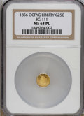 California Fractional Gold: , 1856 25C Liberty Head Octagonal 25 Cents, BG-111, R.3, MS63Prooflike NGC. Although dated 1856, it is believed that this va...