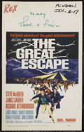 "Movie Posters:Adventure, The Great Escape (United Artists, 1963). Window Card (14"" X 22"").Adventure. Starring Steve McQueen, James Garner, Richard A..."
