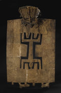 African: , Senufo, (Ivory Coast). Ceremonial Headdress, kworo. Wood on a basketry cap. Height: 35 ½ inches Width: 22 ½ inches. A...