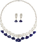 Estate Jewelry:Necklaces, Diamond, Sapphire, Gold Jewelry Suite. The necklace featuresfull-cut diamonds, enhanced by rose-cut diamonds, set in 18k ...