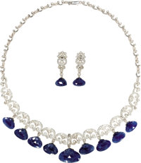 Diamond, Sapphire, Gold Jewelry Suite  The necklace features full-cut diamonds, enhanced by rose-cut diamonds, set in 18...