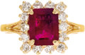 Estate Jewelry:Rings, Ruby, Diamond, Gold Ring. The ring centers an emerald-cut ruby measuring 8.80 x 6.90 x 3.20 mm and weighing approximately ...