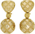 Estate Jewelry:Earrings, Diamond, Gold Earrings. Each oversized earring features full-cutdiamonds weighing a total of approximately 1.00 carat, se...