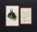 "Autographs:Military Figures, Brvt. Major General George Armstrong Custer Autograph Note Signed ""G. A. Custer"". One page, 3"" x 5"", Headquarters Nov. 2..."