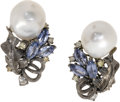 Estate Jewelry:Earrings, South Sea Cultured Pearl, Sapphire, Colored Diamond, Diamond, Gold Earrings. Each earring features a baroque South Sea cul...