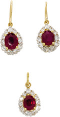 Estate Jewelry:Earrings, Ruby, Diamond, Gold Jewelry Suite. The suite includes: one pair ofearrings, each featuring an oval-shaped ruby enhanced b...