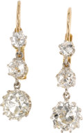 Estate Jewelry:Earrings, Diamond, Gold Earrings. Each earring features graduated mine-cut diamonds, set in 18k gold. Total diamond weight for the p...