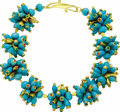 Estate Jewelry:Necklaces, Turquoise, Coral, Pearl, Emerald, Gold Necklace. The necklaceconsists of nine clusters, each featuring teardrop-shaped tu...
