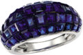 Estate Jewelry:Earrings, Sapphire, Platinum Ring, Van Cleef & Arpels. The dome-style ring features invisibly-set square-cut sapphires weighing appr...