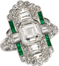Estate Jewelry:Rings, Diamond, Emerald, Platinum Ring. The ring centers an Asscher-cut diamond measuring 7.00 x 6.20 x 2.00 mm and weighing appr...