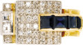 Estate Jewelry:Rings, Retro Sapphire, Diamond, Platinum-Topped Gold Ring. The ringfeatures a row of square-cut sapphires weighing a total of ap...