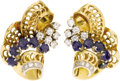 Estate Jewelry:Earrings, Retro Sapphire, Diamond, Gold Earrings. ...