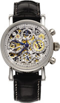Timepieces:Wristwatch, Chronoswiss Men's Platinum Automatic Chronograph Opus Skeletonized Leather Strap Watch, 2000. Case: 38 mm circular, platin...