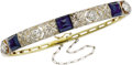 Estate Jewelry:Bracelets, Sapphire, Diamond, Gold Bracelet, Russian. The hinged banglefeatures sugar loaf-cut sapphires, the largest measuring 6.75...