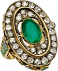 Estate Jewelry:Rings, Emerald, Diamond, Gold Ring, Russian. The ring is highlighted by anoval-shaped emerald measuring 11.50 x 8.00 x 6.85 mm a...