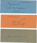 Miscellaneous Collectibles:General, Bill Tilden, Don Budge and Helen Moody Signatures. Vintage fountain pen signatures of all time tennis greats Helen Wills Mo...